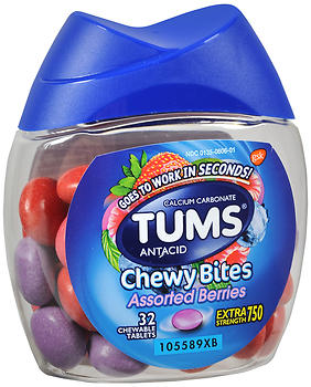 TUMS Extra Strength 750 Antacid Chewy Bites Assorted Berries