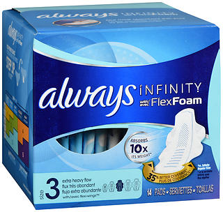 Always Infinity Pads With FlexFoam Size 3 Extra Heavy Flor 14 EA