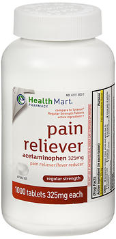 Health Mart Pain Reliever 325 mg Tablets Regular Strength 1000 TB
