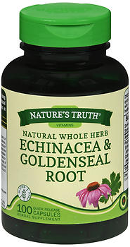 Nature's Truth Natural Whole Herb Echinacea & Goldenseal Root Quick Release Capsules 100 CP