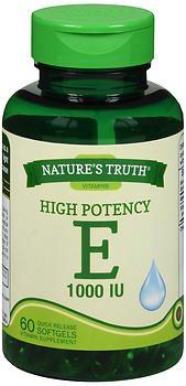 Nature's Truth High Potency E 1000 IU Vitamin Supplement Softgels 60 CT