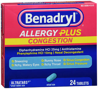 Benadryl Allergy Plus Congestion Tablets 24TB