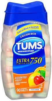 TUMS Extra Strength 750 Chewable Tablets Assorted Fruit