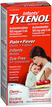 Tylenol Infants Pain + Fever Oral Suspension Dye Free Cherry 2 OZ