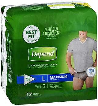 Depend Fit-Flex Underwear for Men Large Maximum Absorbency 17 CT
