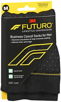 FUTURO Lifestyle Compression Business Casual Socks for Men Moderate  Black 71045EN SIZE M
