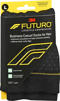 FUTURO Lifestyle Compression Business Casual Socks for Men Moderate Large Black 71046EN SIZE L