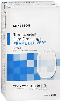 "McKesson Transparent Film Dressings Frame Delivery 2-3/8""x2-3/4"" 100 EA"