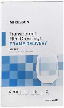"McKesson Transparent Film Dressings Frame Delivery 6""x8"" 10 EA"