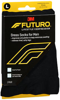 FUTURO Lifestyle Compression Dress Socks for Men Firm Black 71036 SIZE L