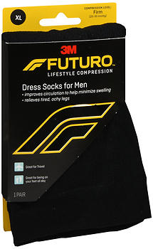 FUTURO Lifestyle Compression Dress Socks for Men Firm Black SIZE XL