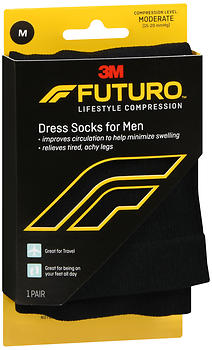 FUTURO Lifestyle Compression Dress Socks for Men Moderate Black SIZE M