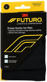 FUTURO Lifestyle Compression Dress Socks for Men Moderate Black Large 71039