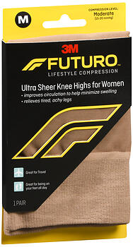FUTURO Lifestyle Compression Ultra Sheer Knee Highs for Women Medium Moderate Compression