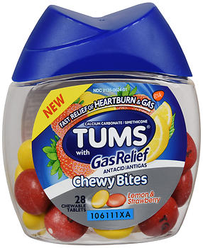TUMS with Gas Relief Chewy Bites Lemon & Strawberry