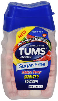 TUMS Extra Strength 750 Chewable Tablets Sugar-Free Melon Berry