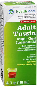 Health Mart Adult Tussin Cough + Chest Congestion DM Liquid Maximum Strength 4 OZ