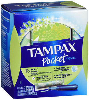 Tampax Pocket Pearl Tampons Super Absorbency Unscented 16 EA