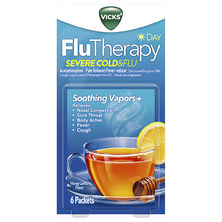 Vicks FluTherapy Severe Cold & Flu Day Packets Honey Lemon Flavor
