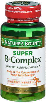 Nature's Bounty Super B-Complex with Folic Acid plus Vitamin C Coated Tablets