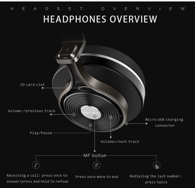 Bluedio T3 Wireless Spatial Audio Headphones - 3D Sound Effect - Headset  With Microphone