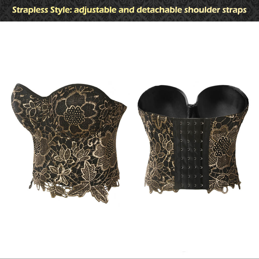 6e87e553d8e56 Gold Embroidery Lace Bustier Corset CroP Top – SHE'SMODA