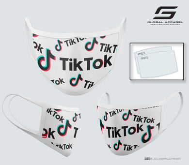 3 Layer Water Resistant Protective Fabric Mask-TikTok (White)