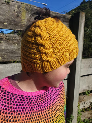 Free kids knit hat pattern to download.Mustard hat Kids