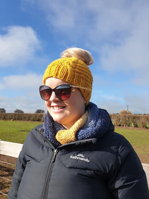 Beginners Knitting Pattern Mustard Chunky Knit Hat