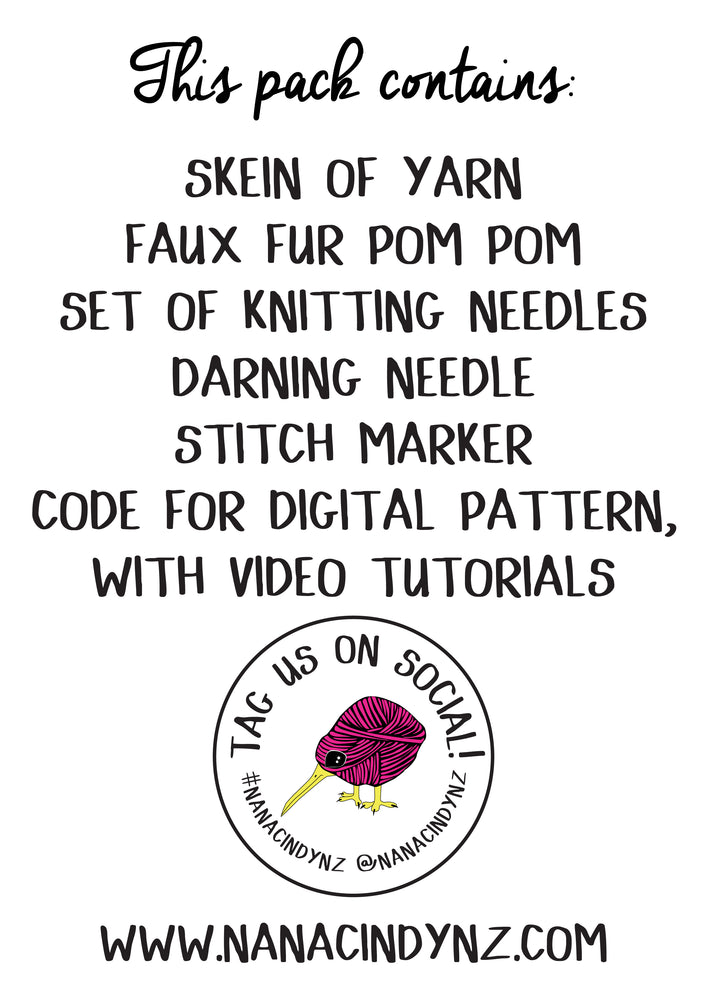 Learn to knit hat kit