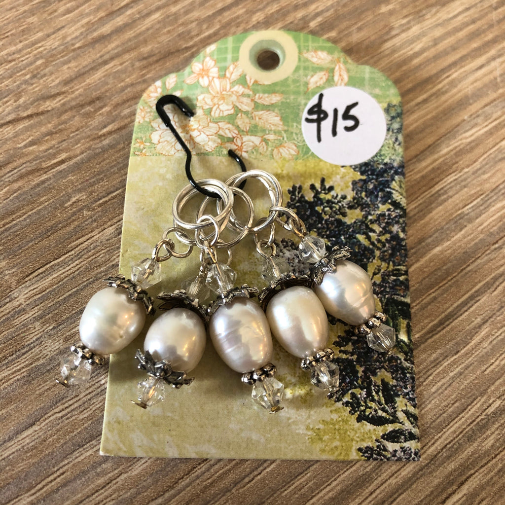 Handmade Pearl and Crystal Stitch Markers