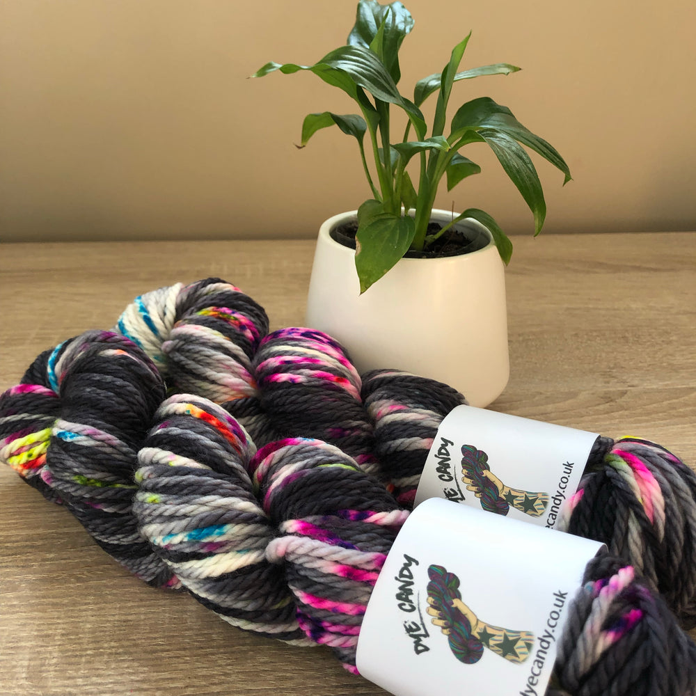 Load image into Gallery viewer, Black rainbow knitting chunky yarn