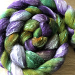 Eggplant and Pine - Hand dyed Fine Corriedale Silk Fibre