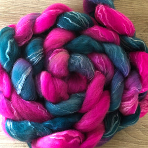 Turquoise Orchid - Hand dyed Fine Corriedale Silk Fibre
