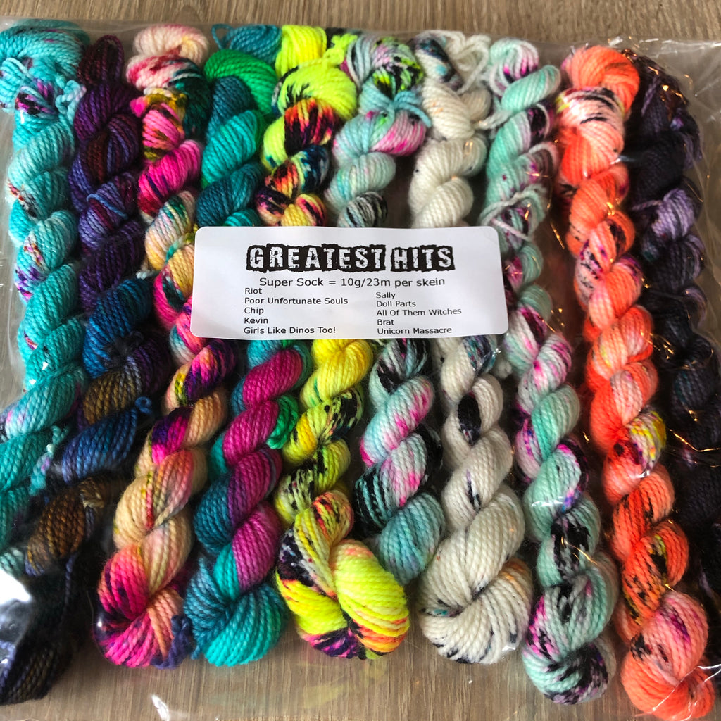 Greatest Hits Mini Skeins Dye Candy Super Sock Fingering Yarn