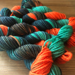 Turqouise and orange knitting yarn