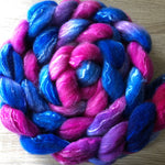 Sapphire and Thrills - Hand dyed Fine Corriedale Silk Fibre