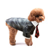 Black Plaid suit dog autumn party gentleman dog dress