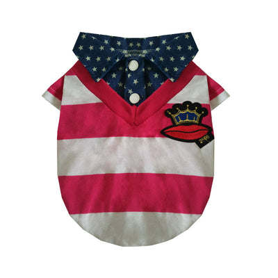 Peach red Summer striped cotton t-shirt  dog clothes