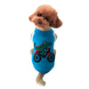 Blue Crocodile riding a bike dog clothes both legs pet casual clothes for fall and winter