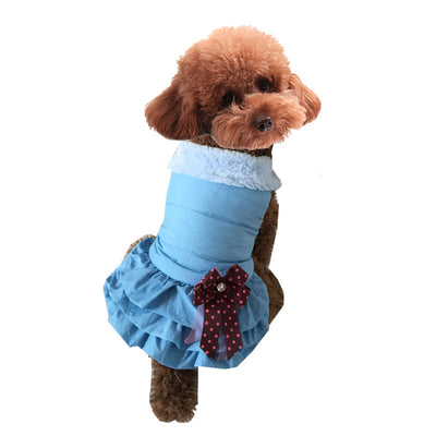 Blue Autumn and winter pet clothes thick pleated puff skirt warm dog costume