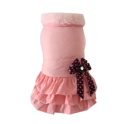 Pink Autumn and winter pet clothes thick pleated puff skirt warm dog costume