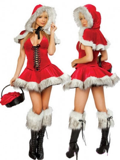 Red and Furry Hooded Christmas Costume Women