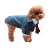 Blue Plaid suit dog autumn party gentleman dog dress