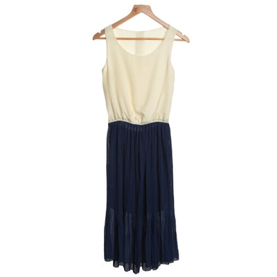 Fashion Lady Women's Dress Chiffon Contrast Color Sleeveless One-piece Dress Pleated Beige & Nave Blue