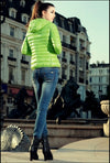 Fashion Women Hoodies Quilted Candy Color Zip Thin Coat Short Outerwear Green