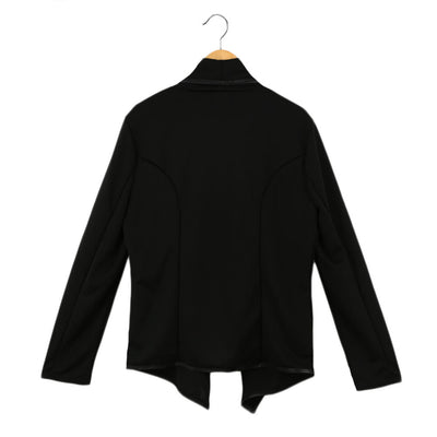 Fashion Solid Irregular Turn Down Collar Long Sleeve Zipper Design Women's Coat