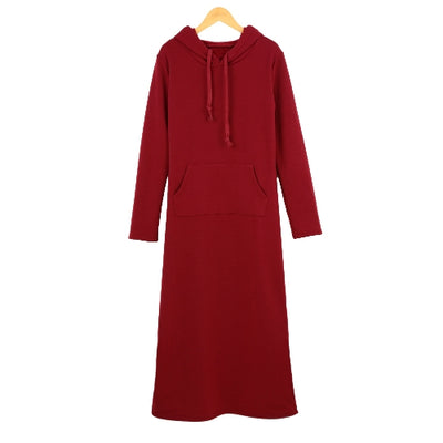Causal Maxi Sweater Dress Hooded Front Pouch Pocket Long Sleeve Fleece Lining