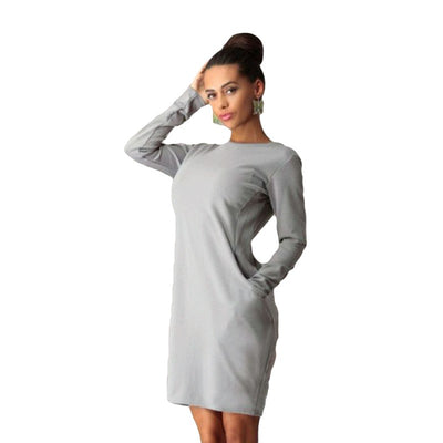 Fashion Pockets Round Neck Long Sleeve Solid Color Casual Plus Size Dress
