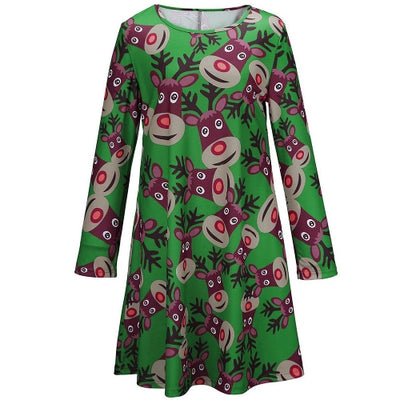 Fashion Chirstmas Women Reindeer Print Color Block Long Sleeve Cute One-piece Mini Dress